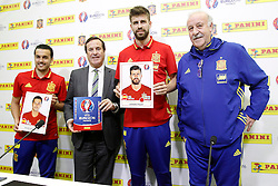 21.03.2016, Ciudad del Futbol de Las Rozas, Madrid, ESP, RFEF, Pressekonferenz spanische Fußballnationalmannschaft, im Bild Pedro Rodriguez, Lluis Torrent, CEO of Panini Spain, Gerard Pique and coach Vicente del Bosque during trade event // during a press conference of spanish national football Team at the Ciudad del Futbol de Las Rozas in Madrid, Spain on 2016/03/21. EXPA Pictures © 2016, PhotoCredit: EXPA/ Alterphotos/ Acero<br /> <br /> *****ATTENTION - OUT of ESP, SUI*****