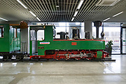 Train locomotive on display at the main train station. Sofia, Bulgaria