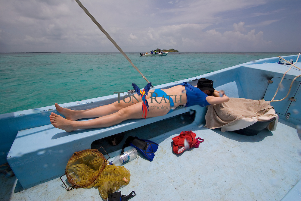 Snoozing after a Snorkel, Carrie Bow Caye, Belize