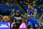 Saah Nimley of the Newcastle Eagles and Edgar McKnight of the Sheffield Sharks during the Betway British Basketball All-Stars Championship at the O2 Arena, London, United Kingdom on 24 September 2017. Photo by Martin Cole.