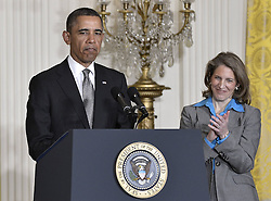 President Barack Obama (L) and Sylvia Mathews Burwell attend a nomination ceremony in the East Room of the White House in Washington D.C., capital of the United States, March 4, 2013. Obama announced Monday that he picked Ernest Moniz to be his next energy secretary and Gina McCarthy to lead the Environmental Protection Agency, US, March 4, 2013. Photo by Imago / i-Images...UK ONLY