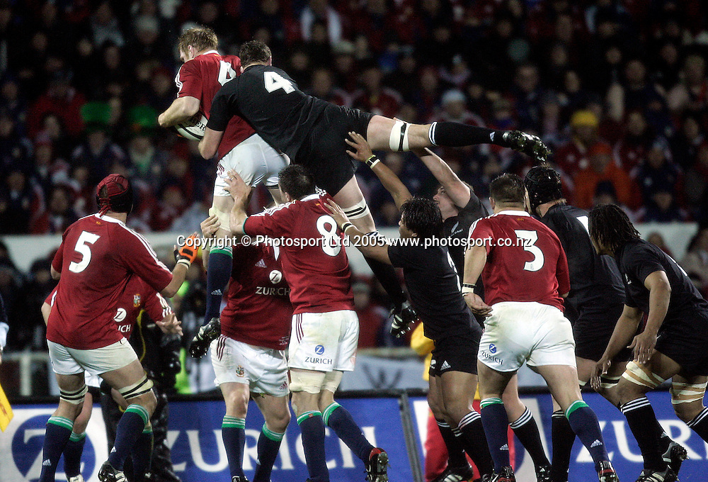 All Black Chris Jack on top of Lions lock Paul O'Connell during the 1st test match between the New Zealand All Blacks and the British and Irish Lions at Jade Stadium in Christchurch, New Zealand on Saturday 25 June, 2005. The All Blacks won 21-3.   Photo : Anthony Phelps/PHOTOSPORT