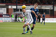 14th September 2019; Dens Park, Dundee, Scotland; Scottish Championship, Dundee Football Club versus Alloa Athletic; Scott Taggart of Alloa Athletic challenges for the ball with Josh McPake of Dundee