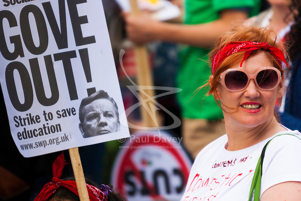 London, June 21st 2014. Teachers joined the march against austerity demanding, as they have since he too office, that Education Secretary Michael Gove is replaced.