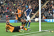 Hull City midfielder Shaun Maloney goes just wide of the goal during the Sky Bet Championship match between Hull City and Birmingham City at the KC Stadium, Kingston upon Hull, England on 24 October 2015. Photo by Ian Lyall.