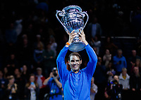 Tennis - 2019 Nitto ATP Finals at The O2 - Day Six<br /> <br /> Singles Group Andre Agassi: Rafael Nadal (Spain) Vs. Stefanos Tsitsipas (Greece)<br /> <br /> Rafael Nadal (Spain) with the ATP World No. 1 Trophy<br /> <br /> COLORSPORT/DANIEL BEARHAM<br /> <br /> COLORSPORT/DANIEL BEARHAM