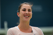Belinda Bencic of Switzerland talks to the media during the All Access Hour at the 2020 Adelaide International WTA Premier tennis tournament Photo Rob Prange / Spain ProSportsImages / DPPI / ProSportsImages / DPPI