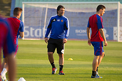20.08.2013, Sofia, BUL, UEFA CL Play off, FC Basel, Training, im Bild, Trainer Murat Yakin (Basel) und Fabian Schaer // during the UEFA Champions League Trainings Match of FC Basel in Sofia, Bulgaria on 2013/08/20. EXPA Pictures © 2013, PhotoCredit: EXPA/ Freshfocus/ Andy Mueller<br /> <br /> ***** ATTENTION - for AUT, SLO, CRO, SRB, BIH only *****
