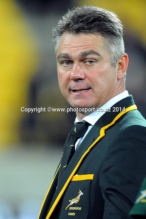 South African coach Heyneke Meyer during the Rugby Championship Rugby Union Test Match New Zealand All Blacks v South Africa. Westpac Stadium, Wellington, New Zealand. Saturday 13 September 2014. Photo: Chris Symes/www.photosport.co.nz