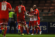 Scott Cuthbert of Leyton Orient (right) celebrates scoring the opening goal during the Sky Bet League 1 match at the Matchroom Stadium, London<br /> Picture by David Horn/Focus Images Ltd +44 7545 970036<br /> 25/03/2014