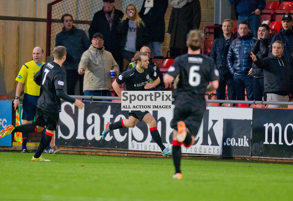 Dunfermline Athletic v Cowdenbeath SPFL League One Season 2015/16 East End Park 02 January 2016<br />  <br /> Greig Spence makes it 1-1<br /> <br /> Dunfermline Athletic take on Cowdenbeath in League one, but also comemorate 20 years since the passing of DAFC player Norrie McCathie. Dunfermline and Cowdenbeath were the only two teams McCathie signed for and Dunfermline wear a replica of the strip Norrie last wore against St Mirren at Love Street in 1995. Cowdenbeath also wear a one off strip to comemorate the towns coal mining history. <br /> <br /> CRAIG BROWN | sportPix.org.uk