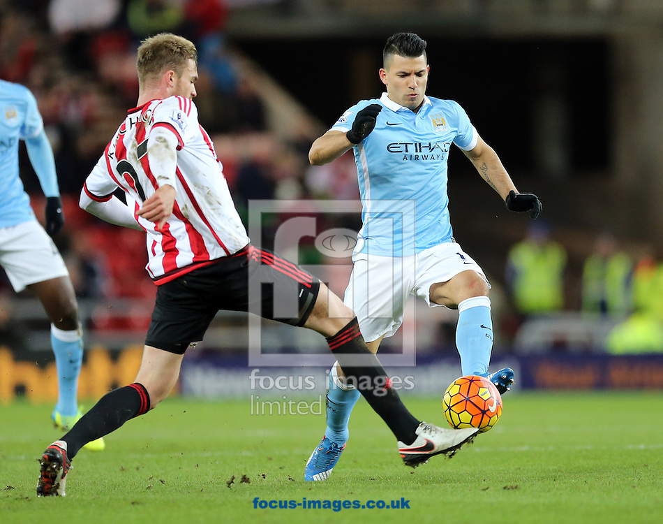 Jan Kirchhoff (l) of Sunderland and Sergio Aguero (r) of Manchester City during the Barclays Premier League match at the Stadium Of Light, Sunderland<br /> Picture by Simon Moore/Focus Images Ltd 07807 671782<br /> 02/02/2016