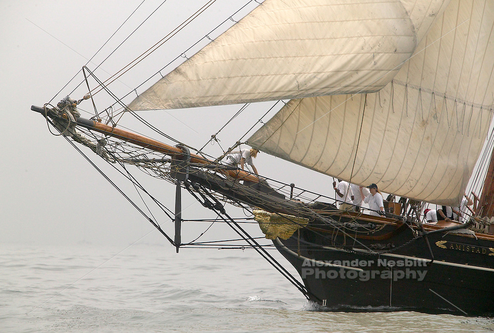 Newport, RI 2004 - Tallship 'Amistad' sails in the fog on Narragansett bay near Newport
