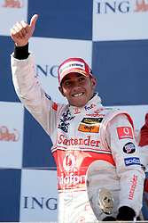 Melbourne. Australia - Sunday, March 18, 2007: Lewis Hamilton (GBR, Vodafone McLaren Mercedes) celebrates his third place finish at the opening Grand Prix of the Formula One World Championship in Australia.(Pic by Michael Kunkel/Propaganda/Hoch Zwei)