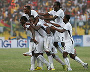 The Black Stars celebrate their 2nd goal against Morocco. African Cup of Nations 2008. Ohene Djan Stadium. Accra. Ghana. West Africa..28th January 2008..©Picture Zute Lightfoot.  07939 108077. www.lightfootphoto.co.uk