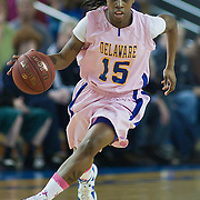 02/05/12 Newark DE: Delaware Sophomore Guard #15 Akeema Richards brings the ball up court during a Colonial Athletic Association game against the VCU Lady Rams, Feb. 5, 2012 at the Bob carpenter center in Newark Delaware.<br /> <br /> Special to The News Journal/SAQUAN STIMPSON
