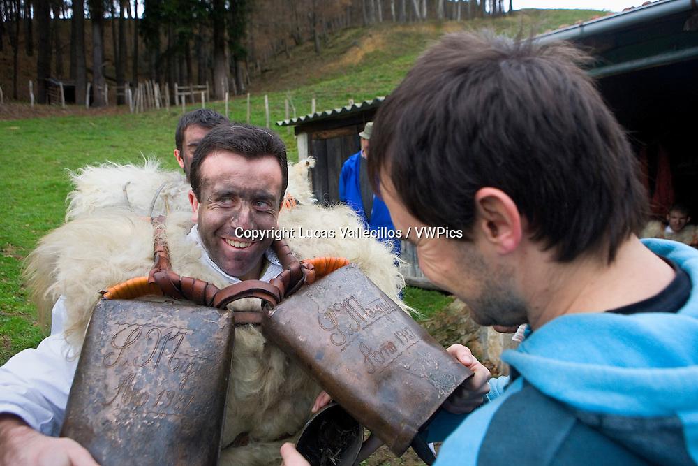 `La Vijanera´carnival,`Zarramaco´,preparing the carnival, Silio, Molledo. Cantabria, Spain.