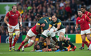 Twickenham, Great Britain, Fourie DU PREEZ, passing out from the breakdown, during the Quarter Final 1 game, South Africa vs Wales.  2015 Rugby World Cup,  Venue, Twickenham Stadium, Surrey, ENGLAND.  Saturday  17/10/2015.   [Mandatory Credit; Peter Spurrier/Intersport-images]