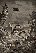 Imaginative reconstruction of the Earth during the time of the dinosaurs.  From 'Astronomie Populaire' by Camille Flammarion (Paris, 1881).   Engraving.
