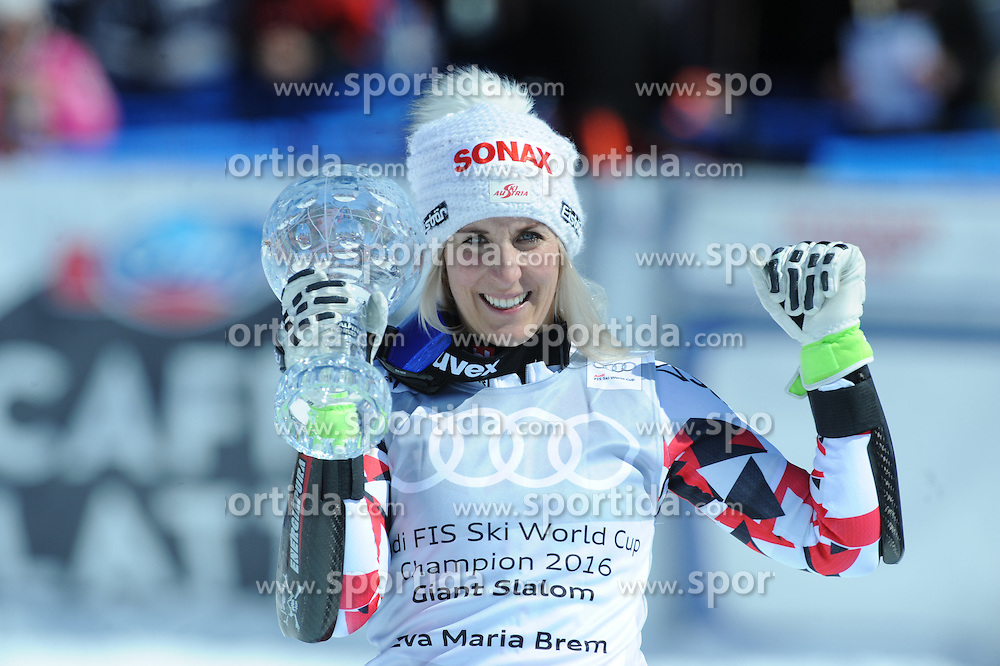 20.03.2016, Engiadina, St. Moritz, SUI, FIS Weltcup Ski Alpin, St. Moritz, Weltcup Siegerehrung, im Bild Eva Maria Brem (AUT) Gewinner RS WC // Eva Maria Brem of Austria Winner of RS WC during Alpine World Cup award winner ceremony of St. Moritz Ski Alpine World Cup finals at the Engiadina in St. Moritz, Switzerland on 2016/03/20. EXPA Pictures © 2016, PhotoCredit: EXPA/ Erich Spiess