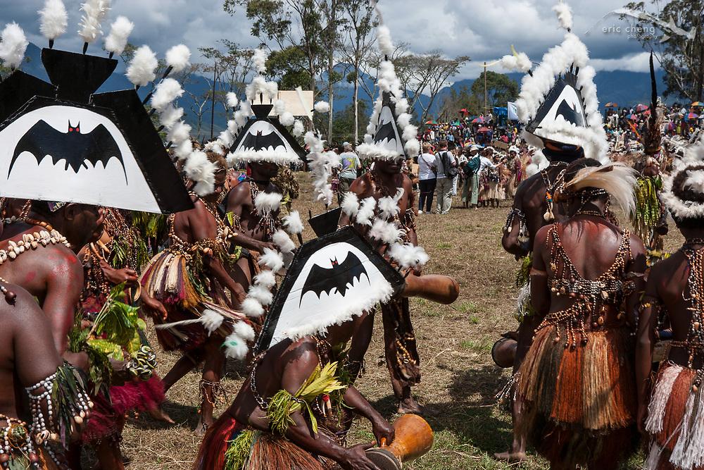 Bat-head sing sing group. Mount Hagen Cultural Show 2005, Mount Hagen, Papua New Guinea