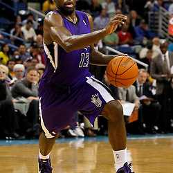 February 6, 2012; New Orleans, LA, USA; Sacramento Kings point guard Tyreke Evans (13) against the New Orleans Hornets during the second half of a game at the New Orleans Arena. The Kings defeated the Hornets 100-92.  Mandatory Credit: Derick E. Hingle-US PRESSWIRE