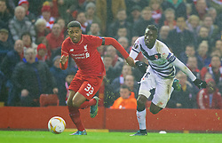 LIVERPOOL, ENGLAND - Thursday, November 26, 2015: Liverpool's Jordon Ibe in action against FC Girondins de Bordeaux during the UEFA Europa League Group Stage Group B match at Anfield. (Pic by David Rawcliffe/Propaganda)