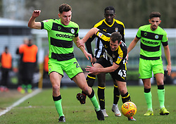 Paul Digby of Forest Green Rovers under pressure from Michael Doyle of Notts County- Mandatory by-line: Nizaam Jones/JMP- 09/02/2019 - FOOTBALL - New Lawn Stadium- Nailsworth, England - Forest Green Rovers v Notts County - Sky Bet League Two