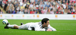 LIVERPOOL, ENGLAND - SUNDAY MARCH 27th 2005: Celebrity XI's Patrick McGuiness holds his head in his hands after scoring an own goal during the Tsunami Soccer Aid match at Anfield. (Pic by David Rawcliffe/Propaganda)