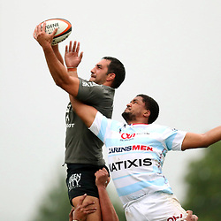 Louis Benoit Madaule of Toulouse and Boris Palu of Racing 92 during the pre-season match between Stade Toulousain Toulouse and Racing 92 at  on August 18, 2017 in Lannemezan, France. (Photo by Manuel Blondeau/Icon Sport)