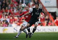 Photo: Rich Eaton.<br /> <br /> Bristol City v Swansea City. Coca Cola League 1. 07/04/2007. Louis Carey left of Bristol and Swanseas Pawel Abbott go for the ball