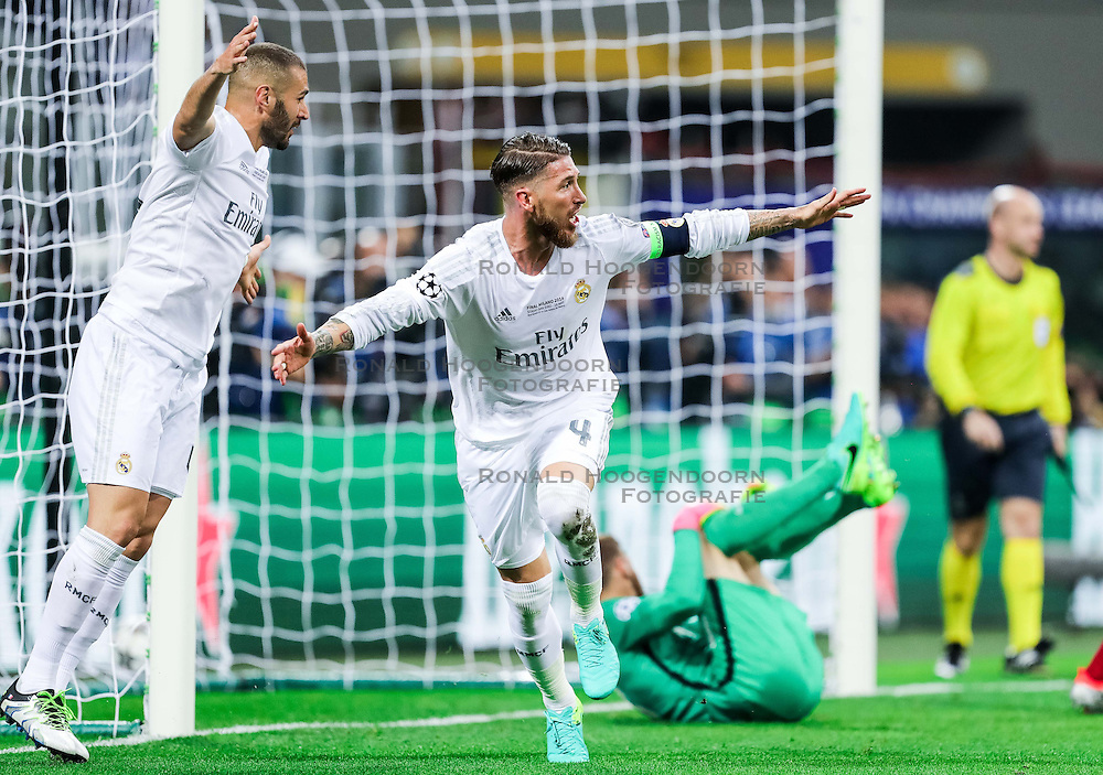28-05-2016 ITA, UEFA CL Final, Atletico Madrid - Real Madrid, Milaan<br /> Karim Benzema of Real Madrid and Sergio Ramos of Real Madrid react after Sergio Ramos of Real Madrid scored first goal for Real <br /> <br /> ***NETHERLANDS ONLY***