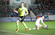Brighton winger, Jamie Murphy (15) celebrates making it 1-0 during the Sky Bet Championship match between Bristol City and Brighton and Hove Albion at Ashton Gate, Bristol, England on 23 February 2016.