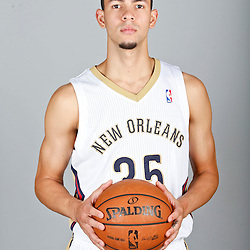 Sep 30, 2013; Metairie, LA, USA; New Orleans Pelicans shooting guard Austin Rivers (25) poses for a portrait at Pelicans Practice Facility. Mandatory Credit: Derick E. Hingle-USA TODAY Sports