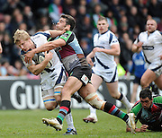 Twickenham, GREAT BRITAIN,  Quins, Nick EASTER, tackles Sharks, David SEYMOUR, during the Guinness Premiership match, Harlequins vs Sale Sharks, played at Twickenham Stoop, Twickenham, Surrey, on Saturday  08/05/2010  [Photo Peter Spurrier/Intersport-images]
