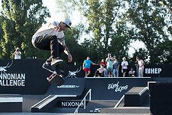 Osijek, May 31, 2018  Zsolt Karkossiak of Hungary  competes during the Skate PRO Finals at the 2018 Pannonian Challenge in Osijek, Croatia, on May 31, 2018. Pannonian Challenge is carrying the title of the biggest extreme sports events in the region. Zsolt Karkossiak won 3rd place  (Credit Image: © Dubravka Petric/Xinhua/Xinhua via ZUMA Wire)