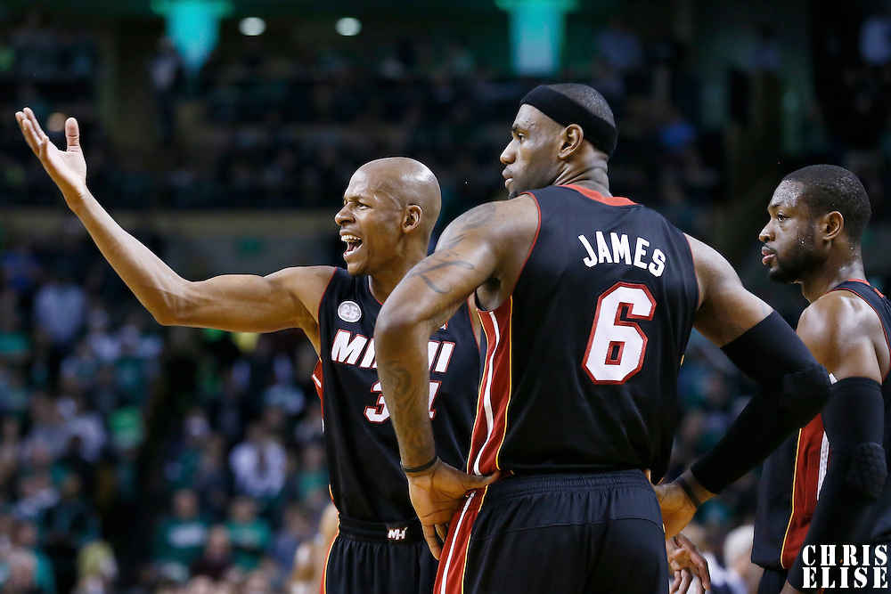 27 January 2013: Miami Heat shooting guard Ray Allen (34) is seen next to Miami Heat small forward LeBron James (6) and Miami Heat shooting guard Dwyane Wade (3) during the Boston Celtics 100-98  2OT victory over the Miami Heat at the TD Garden, Boston, Massachusetts, USA.