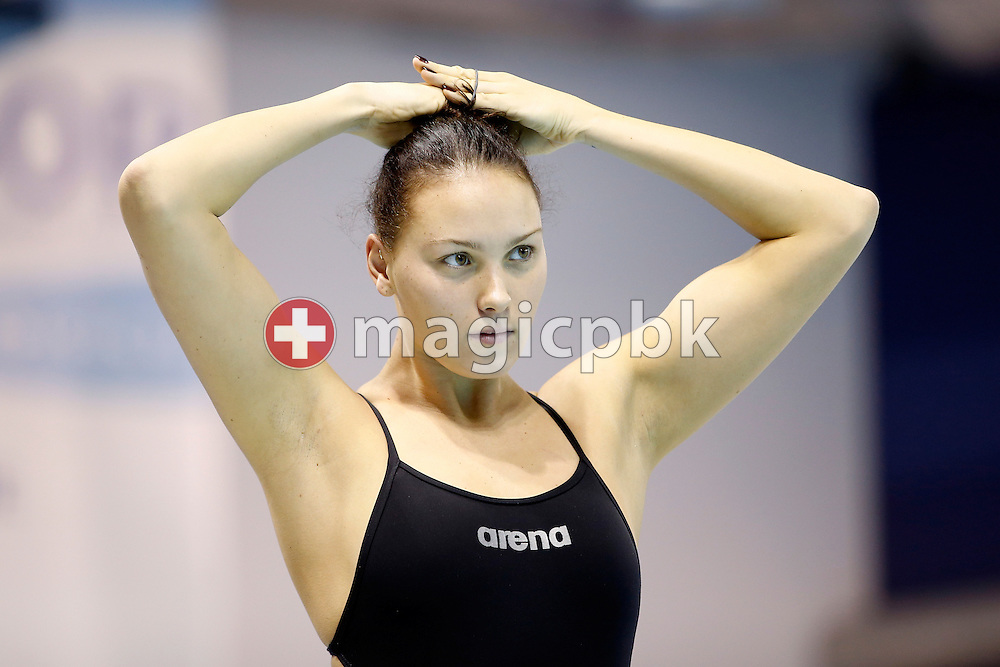 Mie Ostergaard NIELSEN of Denmark adjusts her hairs during a training session held at the at the Windsor International Aquatic and Training Centre 1 day prior to the start of the 13th Fina World Short Course Swimming Championships held at the WFCU Centre in Windsor, Ontario, Canada, Monday, Dec. 5, 2016. (Photo by Patrick B. Kraemer / MAGICPBK)