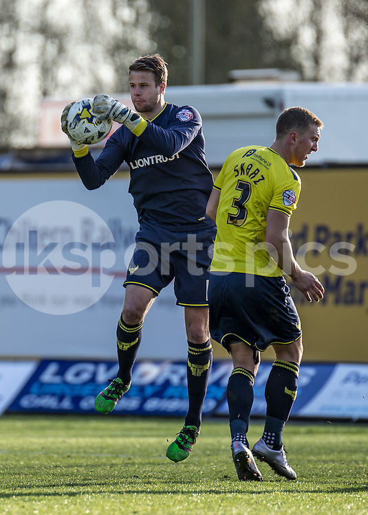 Goalkeeper Benjamin Buchel of Oxford United during the Sky Bet League 2 match between Oxford United and Stevenage at the Kassam Stadium, Oxford, England on the 25th March 2016. Photo by Liam McAvoy.