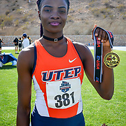 UTEP's Tobi Amusan hold up her 4X100  Gold medal at the 2017 CUSA Track and field meet, Finals Kidd Field El Paso Texas