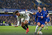 Eintracht Frankfurt midfielder Jonathan de Guzman (6) fouls Chelsea midfielder Eden Hazard (10) during the Europa League semi final second leg match between Chelsea and Eintracht Frankfurt at Stamford Bridge, London, England on 9 May 2019.