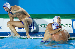 Team of Serbia (Filip Filipovic, Vanja Udovicic and Andrija Prlainovic) celebrates after the Men's  Waterpolo Final match between National teams of Serbia and Spain during the 13th FINA World Championships Roma 2009, on August 1, 2009, at the Stadio del Nuoto,  in Foro Italico, Rome, Italy. Serbia won after penalties shootout 14:13.  (Photo by Vid Ponikvar / Sportida)