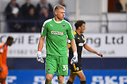 AFC Wimbledon goalkeeper Aaron Ramsdale in action during the first half during the EFL Sky Bet League 1 match between Luton Town and AFC Wimbledon at Kenilworth Road, Luton, England on 23 April 2019.