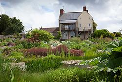 Pond and gravel garden at the organically run Holt Farm