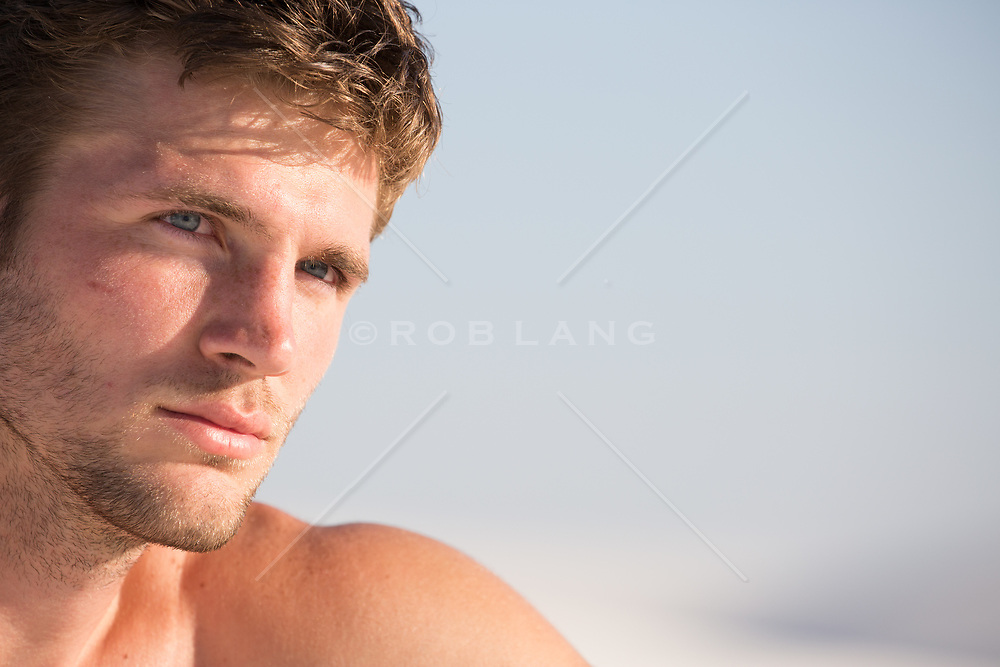 portrait of a handsome All American man with blue eyes