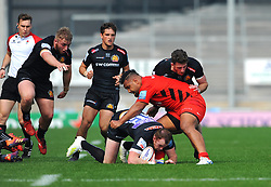 Sione Vailanu of Saracens Storm makes a tackle on Max Bodilly of Exeter Braves- Mandatory by-line: Nizaam Jones/JMP - 22/04/2019 - RUGBY - Sandy Park Stadium - Exeter, England - Exeter Braves v Saracens Storm - Premiership Rugby Shield