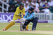 Tammy Beaumont of England (12) reverse sweeps for two runs during the Royal London Women's One Day International match between England Women Cricket and Australia at the Fischer County Ground, Grace Road, Leicester, United Kingdom on 4 July 2019.