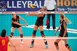 06.09.2013, Gery Weber Stadion, Halle, GER, Volleyball EM 2013, Deutschland vs Spanien, im Bild,, Annahme Maren Brinker (#4 GER) // during the volleyball european championchip match between Germany and Spain at the Gery Weber Stadion in Halle, Germany on 2013/09/06. EXPA Pictures © 2013, PhotoCredit: EXPA/ Eibner/ Kurth<br /> <br /> ***** ATTENTION - OUT OF GER *****