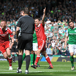 Adam Rooney  and Andrew Considine celebrate Abedeens goal in the match between Hibs v Aberdeen, William Hill Scottish Semi Final, Hampden, Saturday 22 April 2017  (c) Angie Isac | SportPix.org.uk