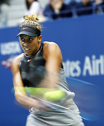 NEW YORK, Sept. 10, 2017  Madison Keys of the United States returns a ball to her compatriot Sloane Stephens during their women's singles final match at the 2017 US Open in New York, the United States, Sept. 9, 2017. Madison Keys lost 0-2. (Credit Image: © Qin Lang/Xinhua via ZUMA Wire)